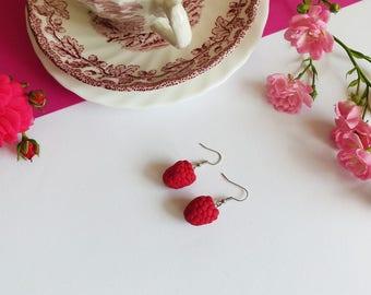 Raspberry dangle fruit earrings vegan jewelry Fimo Berries Earrings Polymer Clay Jewelry