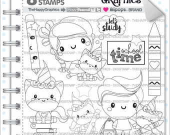 80%OFF - Back to School Stamp, COMMERCIAL USE, Digi Stamp, Digital Image, School Digistamp, Unicorn Coloring Page, Unicorn Graphic, Unicorn