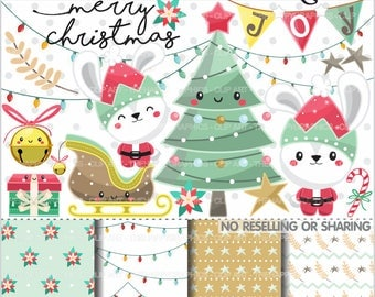 Christmas Clipart, 80%OFF, Christmas Graphics, COMMERCIAL USE, Christmas Party, Rabbit Clipart, Winter Clipart, Christmas Rabbit, Cute