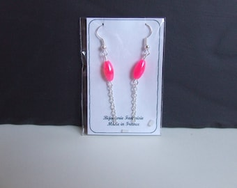Earrings designer vintage art sperm neon & silver