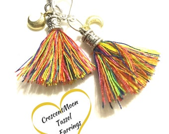 Silver Rainbow Tassel Earrings, Matt Gold Moon Earrings, On trend Earring Gift, On Trend Gift, Stylish Gift, On Trend Style