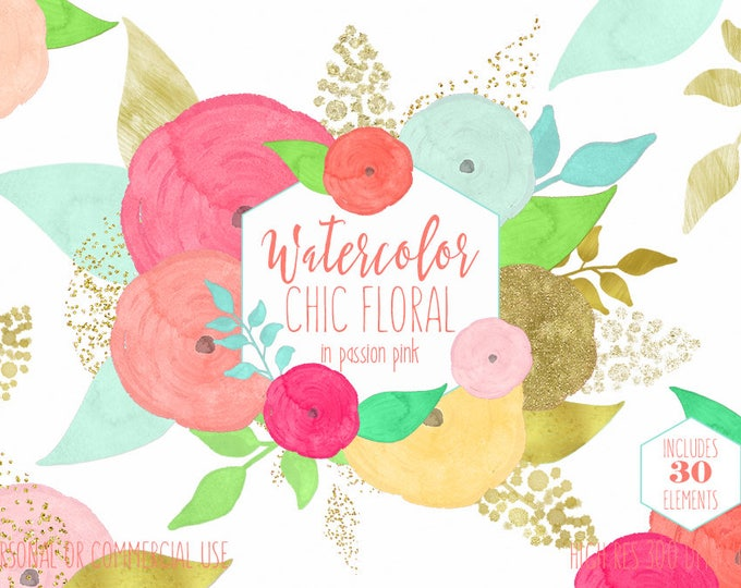 PEACH & MINT WATERCOLOR Floral Clipart Commercial Use Clipart 30 Coral Watercolor Flowers and Gold Confetti Watercolor Roses Floral Graphics