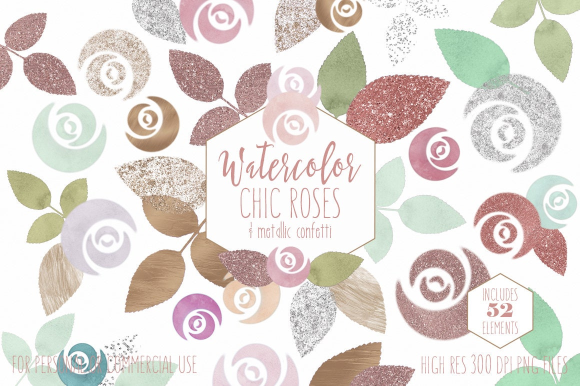BLUSH PINK WATERCOLOR Floral Clipart Commercial Use Clip Art 52 ...