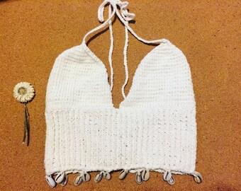 Hand knit shell fringe bralette