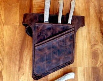 Braun Chef Knives Gürtel   Geschenk Trends   Köche Messer Roll    Lederschürze   Chef