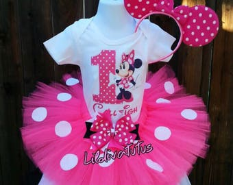 Handmade pink minnie mouse tutu set