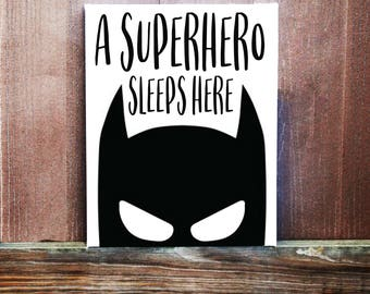 Boys Room Decor, A Superhero Sleeps Here Hand Painted Canvas, Superhero Wall Art, Baby Boy Nursery Art, Bedroom Decor, Superhero Room