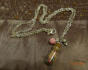 Necklace long glass vial with a small Cork, filled pencil shavings, Pearl Pink