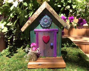 Mauve Fairy Door with Decorative Medallion and Dark Pink Heart