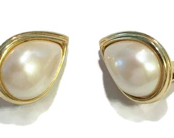 Monet Earrings, Vintage Pearl Clip Ons, Gold Tone, Signed Mid Century Jewelry, 1960s-1970s, Bridal