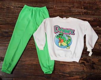 "2 PC. Neon Green Kid's  ""Dinomite"" 80s Sweatsuit"