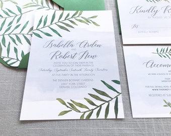 greenery wedding invitations botanical wedding invitations greenery wedding wedding invitations and rsvp - Wedding Invitations And Rsvp