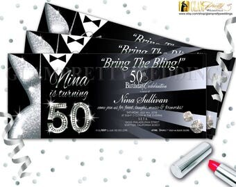 Silver & Black 50th Birthday Party Invite Glam Glitz Bring the Bling Black Tie Party Dress - Printable or Printed - Style Name: LESLIE