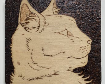 8cm Square Pyrography Kitty Magnet