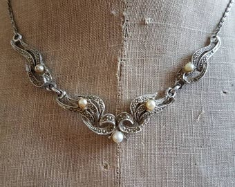 Vintage marcasite diamanté Art Deco paste necklace wedding bride