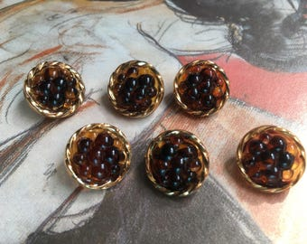 6 antique glass buttons - round form in the beerendesign (155)
