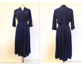 1940's Colbalt Blue Tea Dress