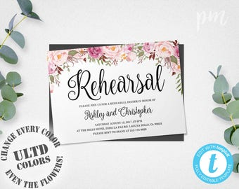 Rehearsal Dinner Invitation Template, Instant Download, Floral Wedding Rehearsal Invitation Template, Edit in Our Web App