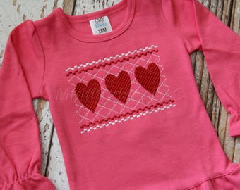 Faux Smocked Embroidered Hearts Shirt