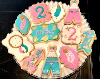 Individually Wrapped Boho Sugar Cookies, Gold, Pink and Teal