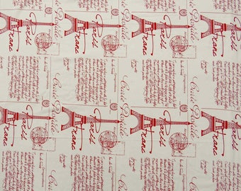 """Text Print, White Fabric, Dress Material, Upholstery Fabric, Craft Supplies, 45"""" Inch Cotton Fabric By The Yard ZBC8213B"""