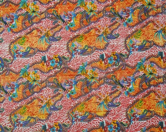 """Multicolor Kimono Silk Fabric, Ethnic Material, Printed Fabric, Home Accessories, 44"""" Inch Fabric By The Yard ZS45B"""