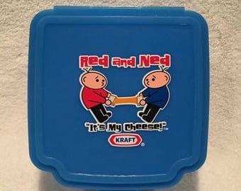 "summer17 Kraft Red and Ned Plastic ""It's My Cheese"" ™ Re-usable Container - CA 1980's"