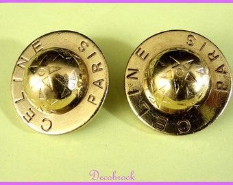 Earrings clips brand CELINE Paris France vintage fashion France vintagefr France vintage French couture