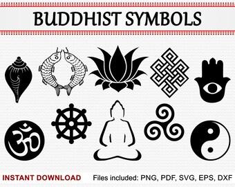 Buddhist Symbols, Commercial Use Clipart Meditating Buddha, Conch, Goldfish Pair, Lotus, Hamsa Hand, Om, Yin Yang, pdf png eps dxf svg files