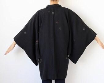 silk black kimono, Haori, black kimono jacket, silk short robe, kimono fashion, flower kimono, haori kimono jacket, black kimono top /1771