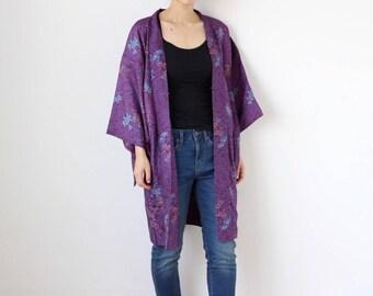 purple flower kimono jacket, silk haori, Japanese kimono, haori, purple jacket, lightweight jacket, summer kimono, haori kimono, kimono/2108