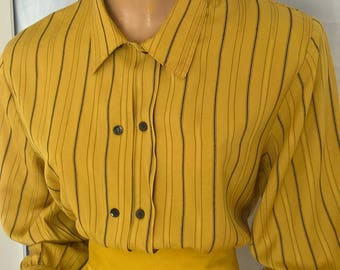 Vintage 90s Katies striped l/s shirt blouse with shoulder pads size 10-12