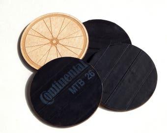 Bicycle Wheel Inner Tube & Reclaimed Plywood Drink Coasters