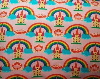 Rainbow Castle - Pink, Cotton Lycra Jersey Knit Fabric