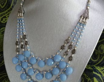 Three Strand Blue Chalcedony Necklace and Earring Set