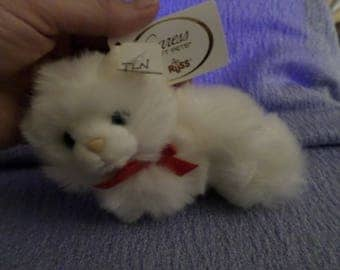 "Little Cat Caress Pets by Russ plush White Kitten blue eyes 5"" red ribbon NWTS  Vintage"