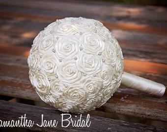Antique White Elegant Bridal Wedding Bouquet, Bride Wedding Bouquet, READY TO SHIP