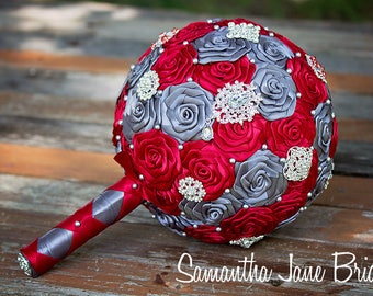 Scarlet and Pewter Handmade Brooch Wedding Bouquet, Bride Wedding Bouquet, READY TO SHIP