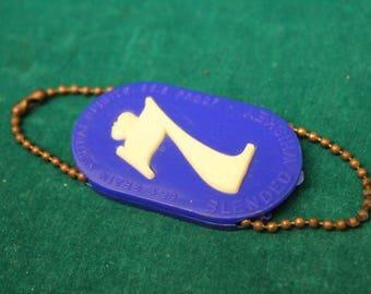 Vintage 1960's Seagram's 7 Seven Crown White Blue Plastic Keychain Key Chain Coin Holder