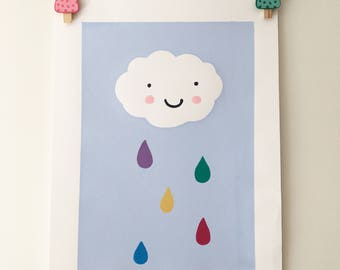 Rainbow Rain Cloud Nursery Screen Print