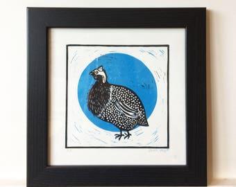 Guinea Fowl Bird Linocut Print