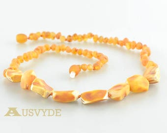Baltic amber necklace, Amber necklace for Adults, Raw amber beads