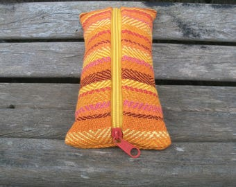 handwoven pencil cases for pens and trifles, orange yellow red pink, pumpkin, linen cotton, to organize in the handbag, ooak