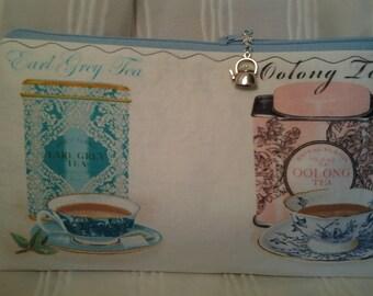 Tea project bag,Breakfast tea bag, Zippered tea bag, Earl Grey tea bag, Notions pouch Tea