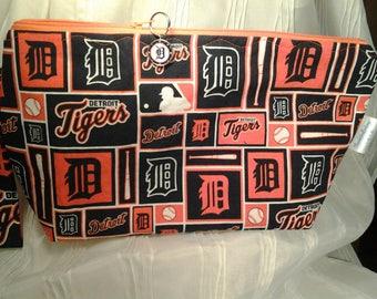 Detriot Tigers, Baseball Bag, Michigan baseball, Project bag, Crochet bag, Lined bag