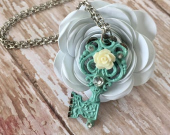 Vintage Key Necklace, Turquoise Necklace, Brass Key Necklace, Charm Necklace, Vintage Necklace, Key to my Heart Necklace