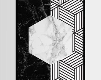 Abstract print, Modern print, Fashion art, Geometric, Black, Marble print, Digital art, Printable art, Digital Instant Download 11x14, 8x10