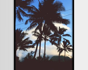 Palm print, Palm trees, Tropical plant, Beach art, Modern art, Wall decor, Digital art, Printable, Digital poster Instant Download 16x20