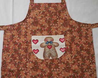 Kids Christmas Apron with Gingerbread - Kids apron with Gingerbread - Kids Christmas Gingerbread Apron