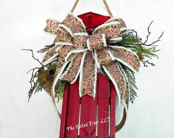 Wooden Sled - Sled Door Hanger - Christmas Sled - Sled Decor - Hostess Gift - Gift for Her - Christmas Front Door Decor - Porch Decor - Sled